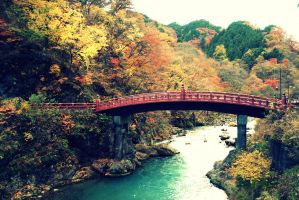 red bridge in Nikko by Shreever