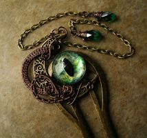 Moon - Dragon Eye Wire Wrapped Hair Fork by LadyPirotessa