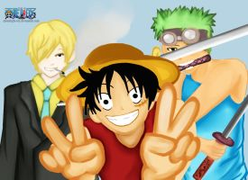 One Piece: Sanji, Luffy, Zoro by moonlight-fox