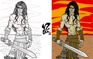 Conan the Barbarian inks+flats by Grigori77