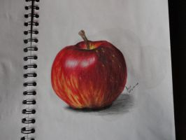 Red apple on colored pencils by BakGuiy