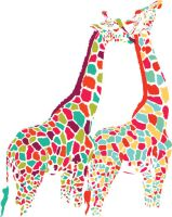 Colorful Giraffe Couple by ecom