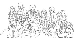 FFXIII Group -Lineart- by LightningGuy