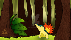 Cyndaquil in the Forest by Linkage92