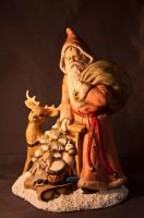 Old Time Santa with Reindeer by Pennes-from-Heaven