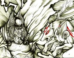 thor vs Amaterasu mvc3 by theredmonster419