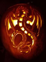 Dragon Pumpkin by flutterbyfae