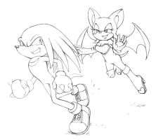 Knuckles and Rouge from Sonic by LCibos