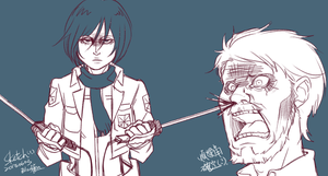 Attack On Titan Sketch - Mikasa... by blackteakimi