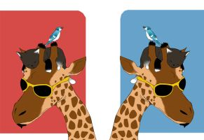 Request: The Giraffe, Kitten, and Blue Jay by Parize