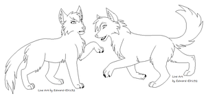 Wolves Playing Line Art by Kainaa