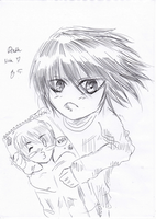 L and his special Pillow c: by LacriChan