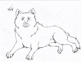 Laying Wolf Line Art - FREE by The-Bone-Snatcher