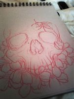 skull and flowers 1 by wargland