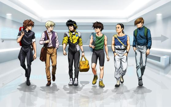 Commission: Ryoga and the Gundam Boys by SapphireGamgee