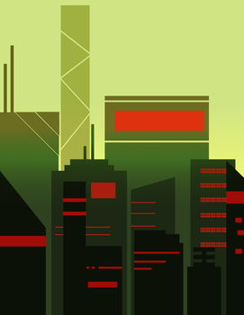 Futuristic Olive Green City by Spoldier