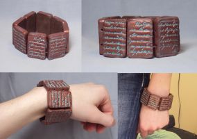 Copper Text Bracelet by ACrowsCollection