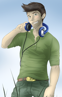 Nate and his headphones by JokerSyndrom