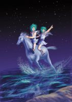 Gemini on a horse by fegan