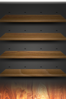 iPhone Retina Walnut Shelves Wallpaper by Darnton