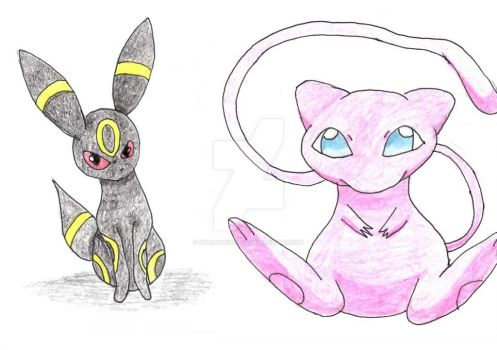 Umbreon and Mew by ShadowCat556