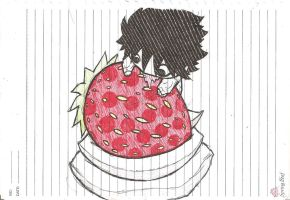 Chibi Lawliet noms Giant Strawberry 0n Cream by ZephyrXenonymous