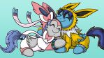 Silvereon and Sparkeon..? -commission by LateCustomer