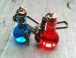 Health and Mana Potion Glass Bottle Keychains by random-wish