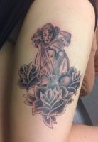 pin up with three roses by HowComeHesDead