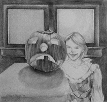 Girl with Jack-o'-lantern by hank1