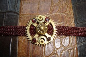Steampunk crocheted wristband by rain2shine