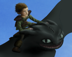 Hiccup and Toothless. An Epic Flight Sneak Preview by Fragsey