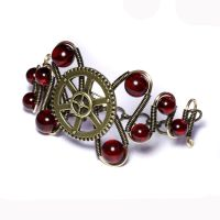 STEAMPUNK BRACELET RED AMBER by CatherinetteRings