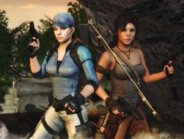 Jill and Lara wallpaper by ethaclane