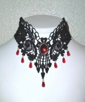 Black lace and red teardrops necklace by Lincey