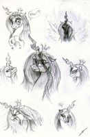 Queen Chrysalis Sketches by metalfoxxx