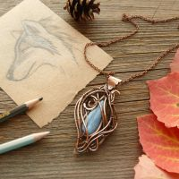 Copper pendant She-Wolf by UrsulaJewelry