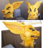 4-eyed yellow fursuit head by ScruffyAlleyCat