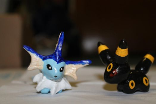 Umbreon and Vaporeon Clay Figures by enyce122