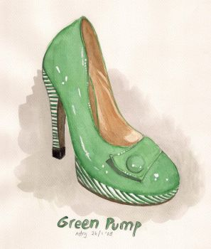Green Pump Shoe by artemiscrow