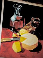 My interp. of Still life with cheese and wine by ClareAmyJoyHurley