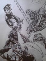 martian manhunter vs green latern and green arrow by artkid01
