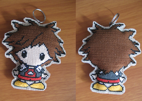 Cross-stitched Sora keychain by InspirationDruid26