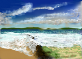 Beach, waves and waterfalls by MacAodhagain