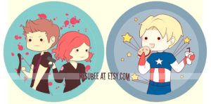 hawkeye, black widow, captain america buttons by resubee