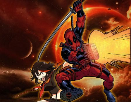 Crimson Clad Warriors Deadpool and Ryuko by AkatsukiAkuma53421