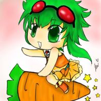 chibi Gumi riding a carrot by chibikimchii