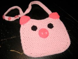Crochet Piggy Bib by rainbowdreamfactory