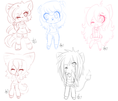 Chibis set 1 by Annette-Dreams