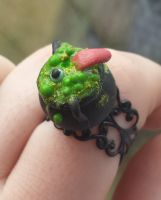 Witches Cauldron Polymer Clay Ring by DruidOfTheValeDesign